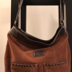 Tignanello Two-toned Brown Suede/leather bag